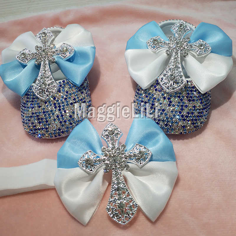 Bowknot Custom Sparkle Bling cross คริสตัล Rhinestones รองเท้าเด็กทารกทารก 0-1Y ริบบิ้นรองเท้า First Walkers hairband 5561