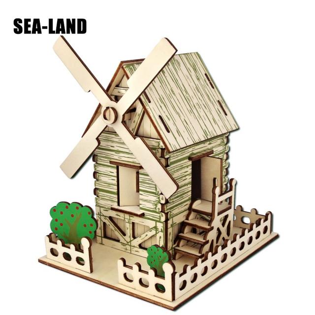 3D bricolage puzzles en bois Jouet Pour Famille Jeux Pays Moulin À Vent puzzle éducatif jouet montessori Défi IQ Un Passe-Temps Cadeau Pour Enfants