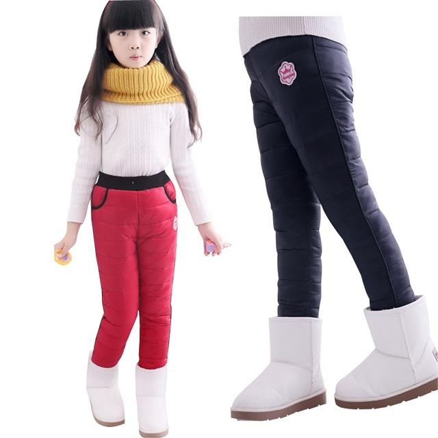 2016 NUEVAS muchachas del invierno pantalones calientes de los niños, además de terciopelo a prueba de viento y pantalones bajados espesar diseño al por menor, C203