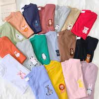 Harajuku Anime Stickerei 100% Baumwolle T Shirt 90 s Ästhetischen Beste Freunde Stil Tier frauen 39 s t shirt Top hemd Tumblr Dopship