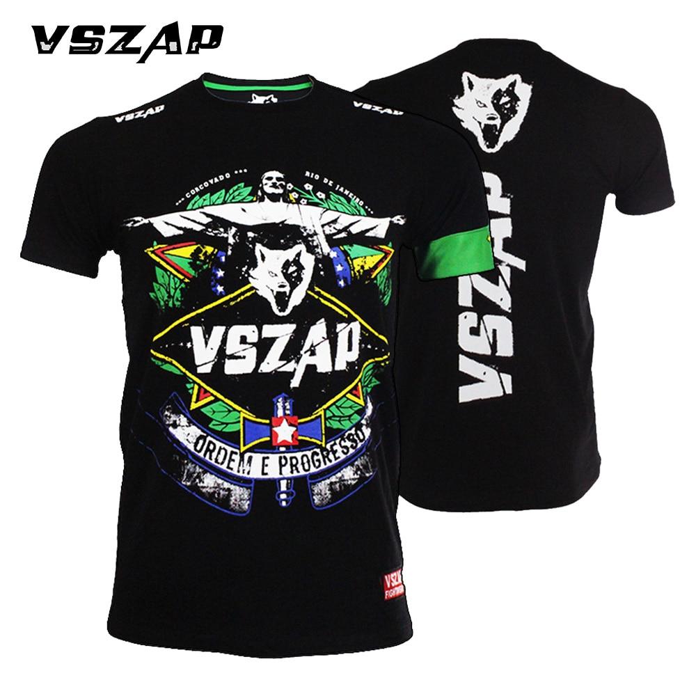 Prix pour VSZAP ropa de muaythai À manches Courtes T-shirt formation de Combat Fitness MMA de boxe Jujitsu Lutter À manches Courtes Sueur