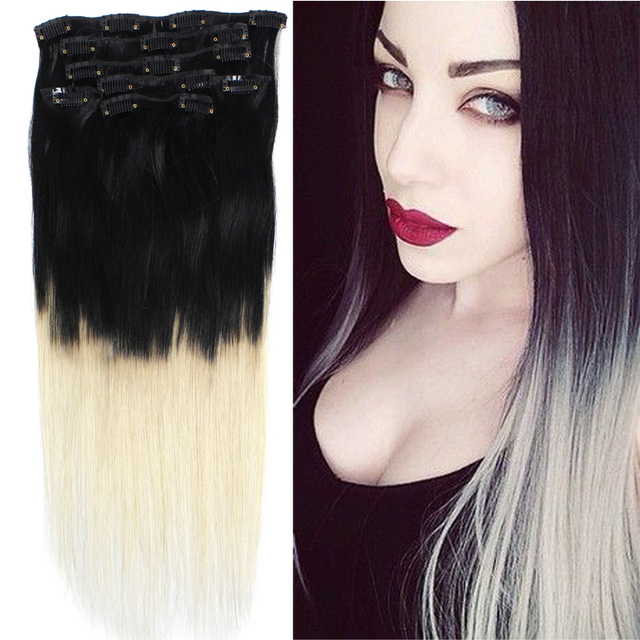 18 39 39 70grams ombre hair color 1 613 black to white blonde balayage natural clip ins extensions. Black Bedroom Furniture Sets. Home Design Ideas
