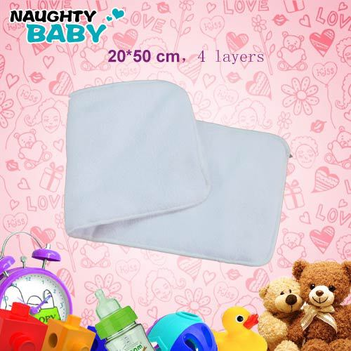 Adult cloth diaper inserts 50*20cm Nappy nappies 100 pcs micorfiber 4 layers inserts Free Shipping