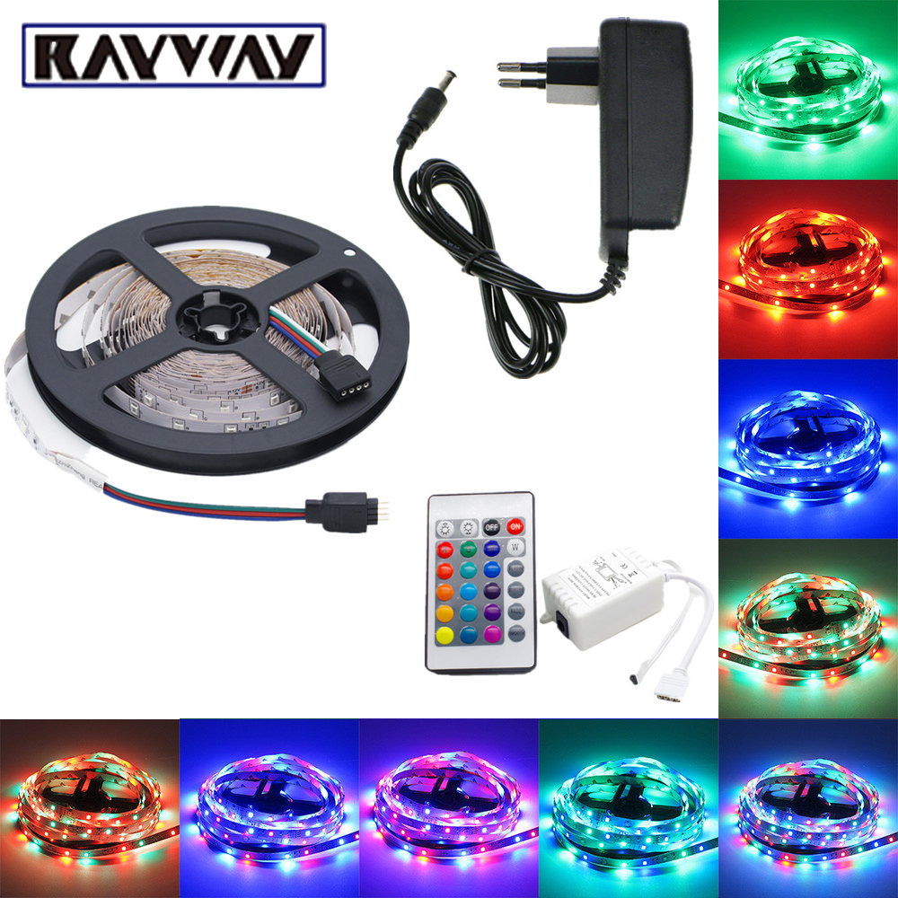 RAYWAY 5M 60LEDs/m 5050/2835SMD LED Ribbon Light Strip Remote Control Flexible Christmas Decorate Light + DC12V Power Adapter