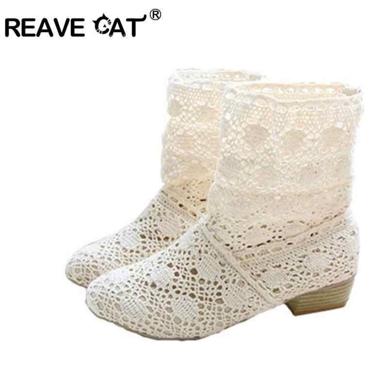 REAVE KEDI kadın botları yaz çizmeler patik Kesme dantel çizmeler büyük boy 40 42 41 hollow out moda kadın ayakkabı bej Siyah RL386