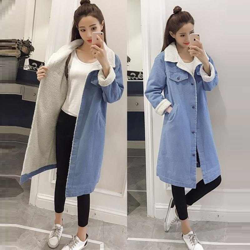 2019 Warm Women Basic Coat Denim Jacket Women Winter Denim Jacket For Women Jeans Jacket Women Denim Coat loose fit casual style