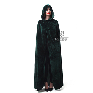 Image 1 - ROLECOS Hot Sale Halloween Cosplay Costume for Adult Long Purple Green Red Black Cloak Witch Wizards Hood with Capes Costume