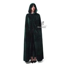 ROLECOS Vendita Calda di Halloween Cosplay Costume per Adulti Lungo Viola Verde Rosso Nero Mantello Strega Wizards Cappuccio con Mantelle Costume
