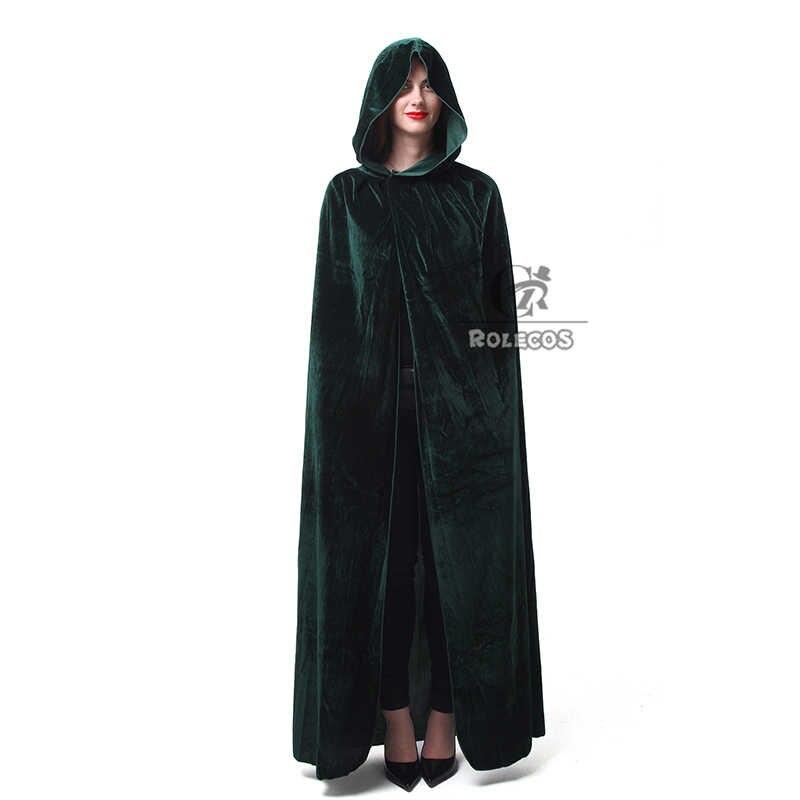 ROLECOS ホット販売ハロウィンコスプレ衣装大人ロング紫、緑、赤と黒マント魔女ウィザードフードケープ衣装