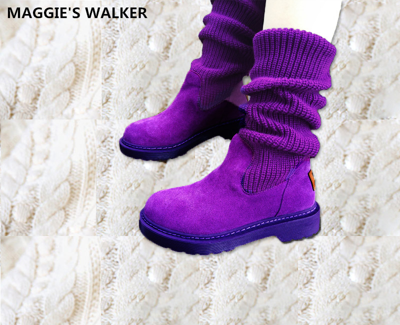 Maggie s Walker Women Fashion Genuine Leather Long Boots Women Autumn Warm Martin Boots Knitted Snow