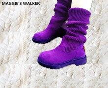 Maggie Walker Frauen Fashion Echtes Leder Lange Stiefel Frauen Herbst Warm Martin Stiefel Gestrickte Schnee Stiefel Größe 35-39