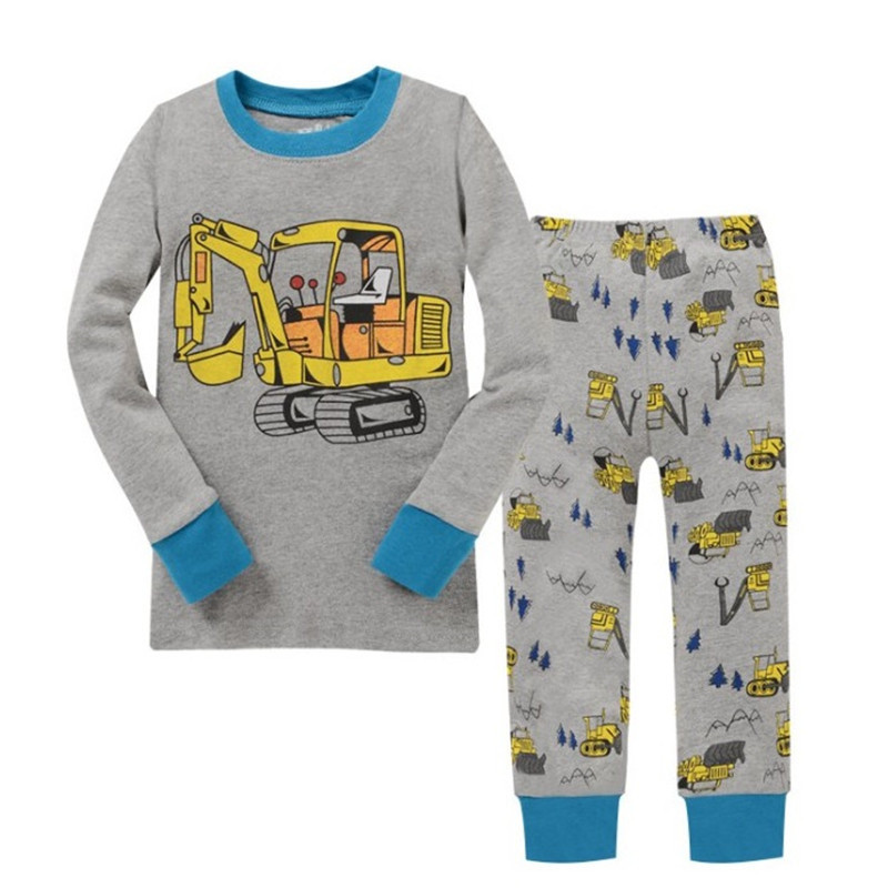 Boy clothes Kids Cotton Pajamas Children Sleepwear Baby Pajamas Sets Boys cartoon long-sleeved car pyjamas cotton nightwear title=