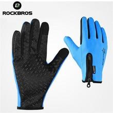 ROCKBROS Man Women Full Finger Phone Glove Winter Gloves Fleece Thermal Warm Bike Sport Gloves Motorcycle