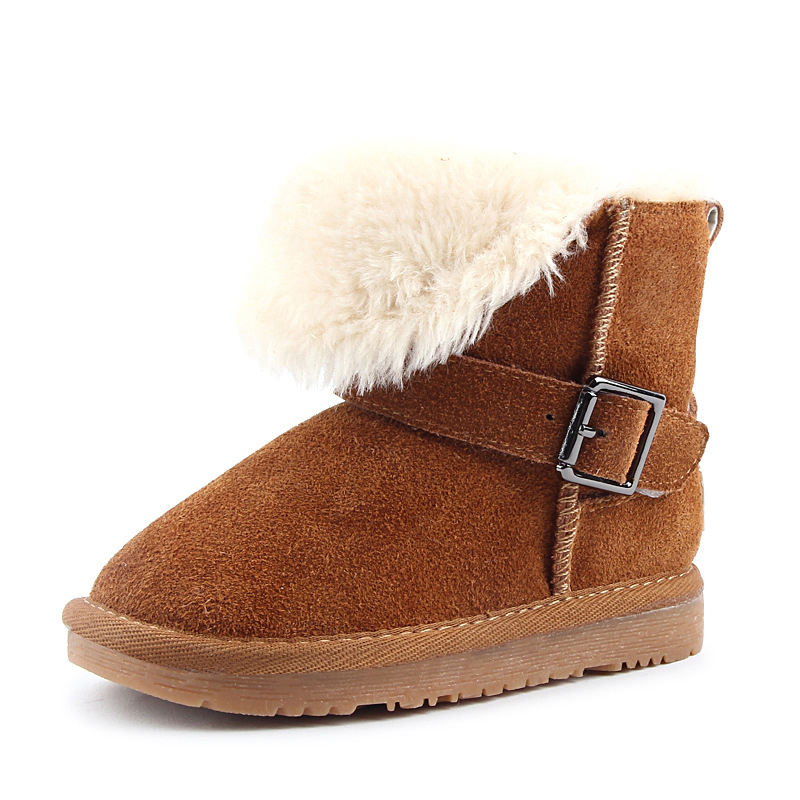 ФОТО High Quality 2016 Hot Sell Winter Fashion Leather Kids Snow Boot Warm Waterproof Shoes Girl Boys Casual High Boots BS-K6