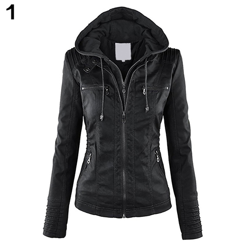 Mujeres de la manera Collar Convertible Faux Leather Coat Chaqueta Con Capucha Desmontable