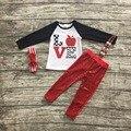 """2016 Outono/Inverno roupa do bebê roupas das meninas bonitos """"amor"""" Lantejoulas vermelhas maçã crianças calças roupas definir com curva de harmonização e colar"""