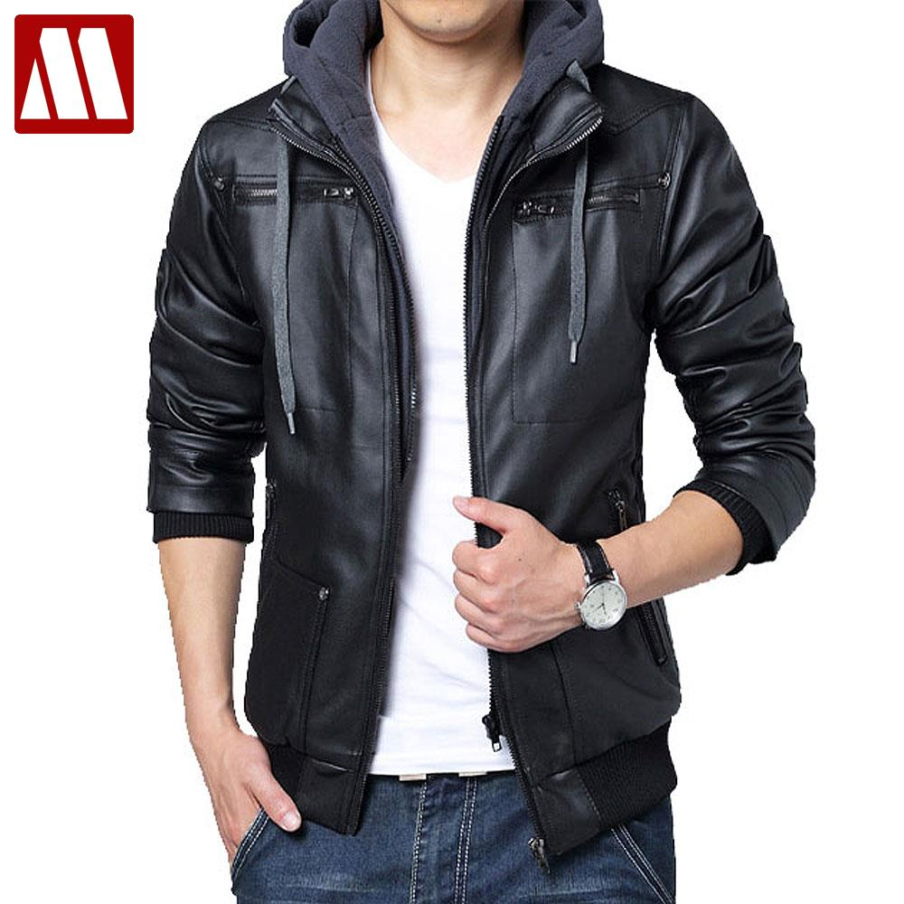 Leather jacket hoodie - Free Shipping 2016 Winter Removable Hooded Coat Mens Hoody Jackets Outwear Slim Fit Leather Jacket Man Transverse Leather Coats