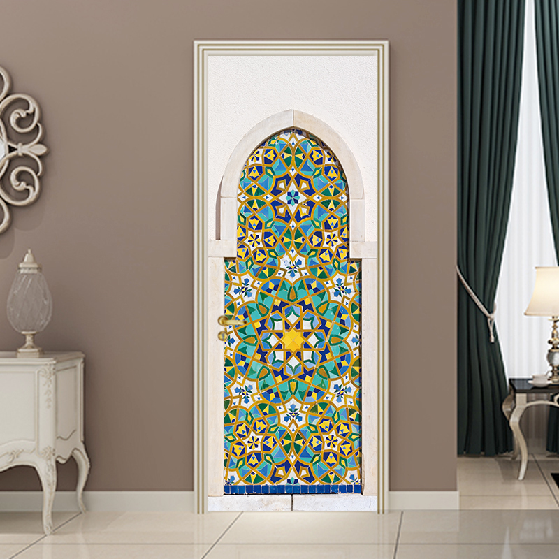 New DIY Mosaic Colorful Door Stickers Wallpaper Wall Sticker Adhesive Waterproof PVC Poster Living Room Bedroom Home Decor