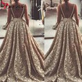 Gold Lace Prom Party Dresses Long Ball gown Backless Spaghetti 2016 Formal Evening Gowns Special Occasion Dressess for Women