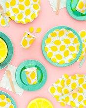 8pcs Usa E Getta Fragola Stoviglie di Carta Paglia/Piastra/Tazza/Tovaglioli Giallo Limone Decorazioni della Festa di Compleanno Per Adulti per da sposa