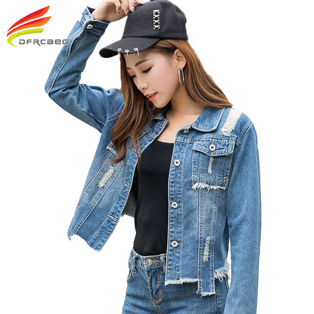 New 2018 Spring Denim Jackets Women Long Sleeve Fashion Cool Hole Jean  Jacket 2017 Women Single Breasted Casual Coat Outwear acf0eb9435