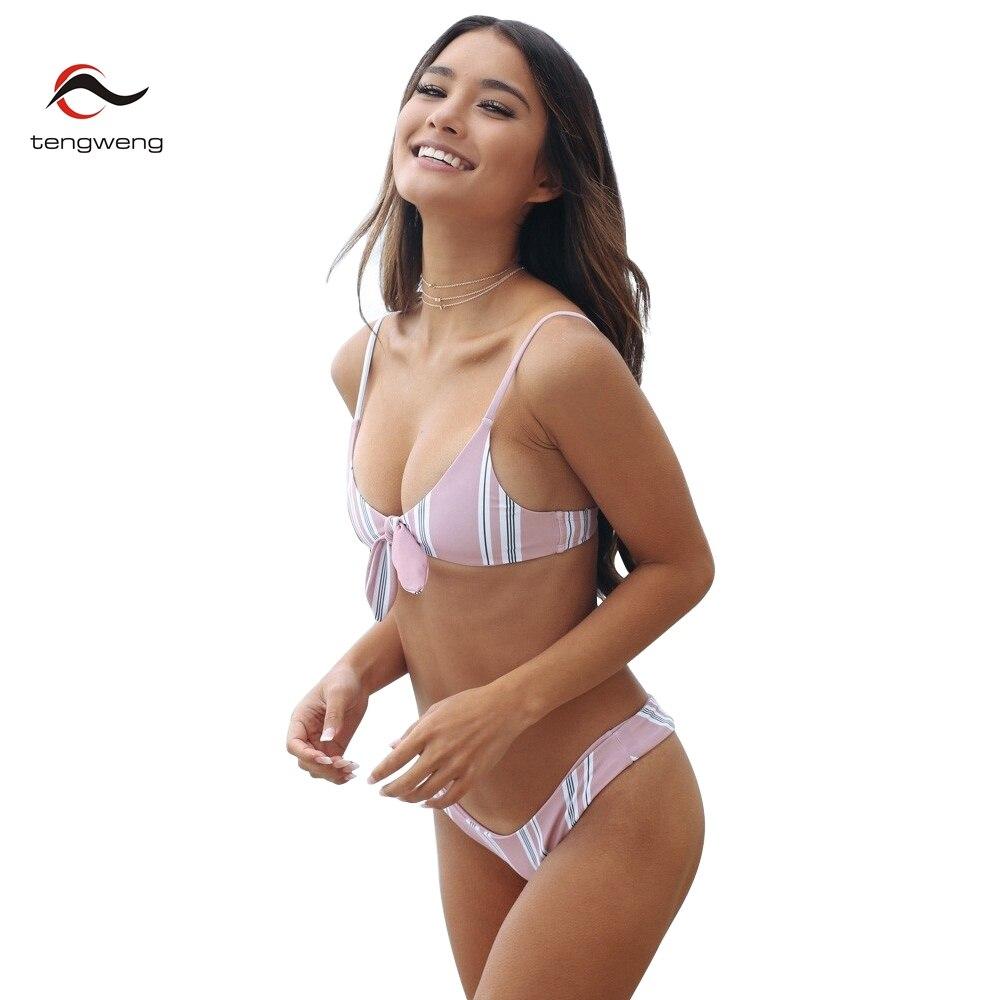 c3a9653bd715c Tengweng 2019 New Sexy Pink Striped Bikini Bow tie Women Swimsuit Thong  Brazilian Swimwear Plus size Female Bathing suit Cheap-in Bikinis Set from  Sports ...