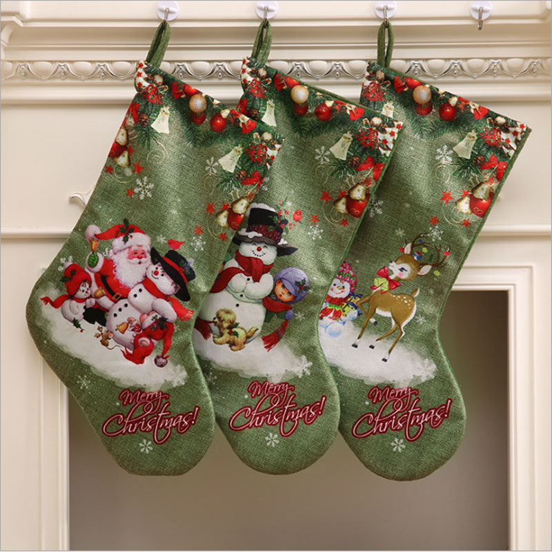 Christmas Socks Xmas Ornaments Gift Bags New Year Products Santa Claus Stockings  Christmas Tree Pendant Decoration