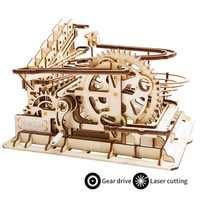 Montaña rusa de ruedas de agua Robud DIY | Kits de construcción de modelo de madera juguete de montaje | 4 tipos de juego de carreras de mármol para niños adultos LG