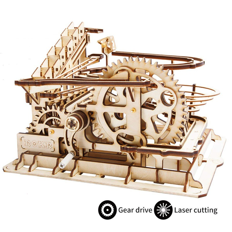 Robud bricolage Waterwheel Coaster | Kits de construction de maquettes en bois jouet d'assemblage | 4 sortes de jeu de course en marbre pour enfants adultes LG