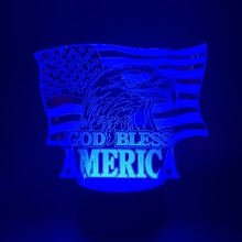 Night Light Lamp God Bless America Logo Flag Best Gifts for Patriot Decoration Bedside Atmosphere 3d Visual Effect