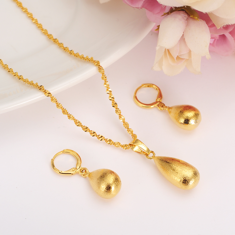 African Geometric Drophjewelry Set Chain Women Nigerian Wedding Gold Multi Layer Necklace Pendantearring Indian Jewelry Sets