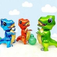 Giant 3D dinozaur spaceru balony foliowe stały zielony dinozaur czerwony smok DIY dekoracje na przyjęcie urodzinowe dla dzieci zabawki chłopięce helem Globals