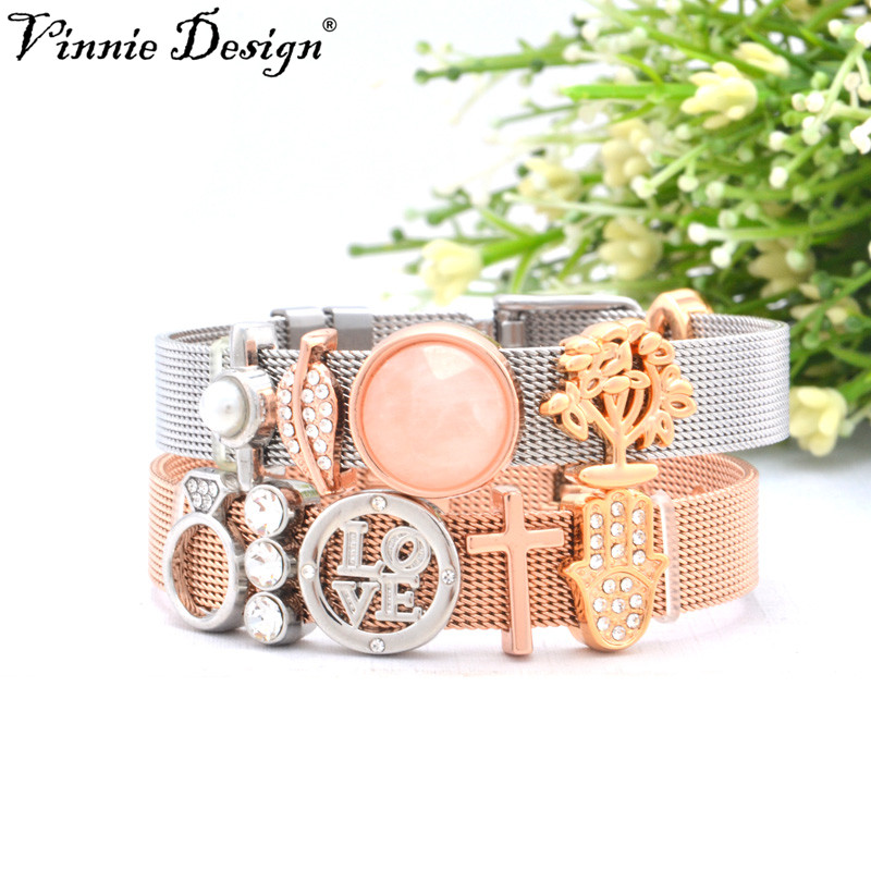 Vinnie Design Jewelry Silver Rose Gold Mesh Keepers Bracelets Sets with Slide Charms 22cm Stainless Steel Wrap Bracelet