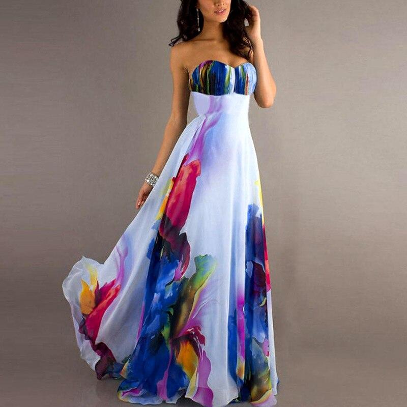 Vogue sexy Femmes NEW Vintage Sans Manches Floral Longue Maxi Robes de Soirée Robe couleur aléatoire