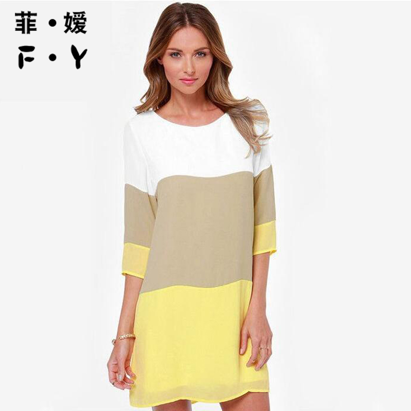 Summer Dress Women 2017 Above Knee Mini Solid Fashion New Style O Neck Office Dress Ukraine