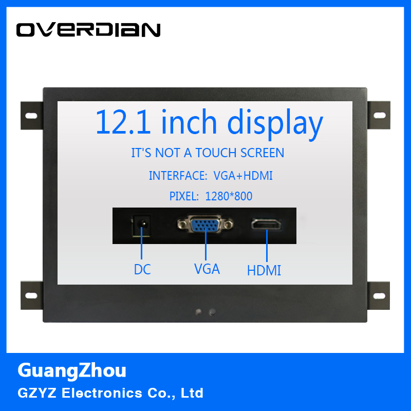 12/12.1Inch VGA/HDMI Interface Metal Shell Hanger Installation Industrial Control Lcd Monitor TFT Type 16:10 Non-touch Screen 8 8 4 inch vga dvi interface non touch industrial control lcd monitor display metal shell buckle card installation 4 3