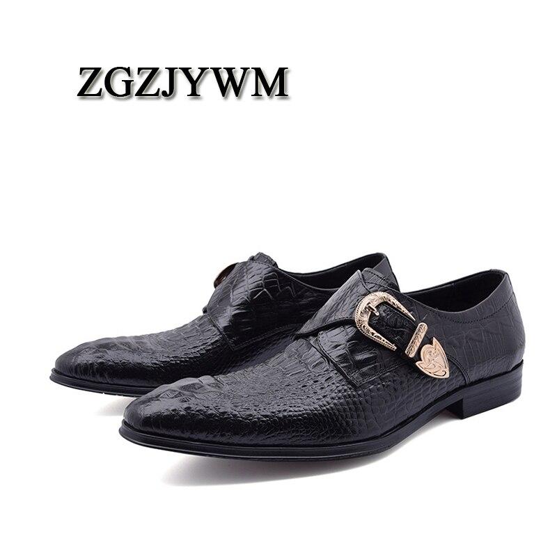 Preto Zgzjywm Couro vermelho Negócios Slip Escritório Crocodilo Luxo Homens Vestido Genuínos De Casamento Sapatos on Padrão Mocassins Marca red Black wXqgrX8