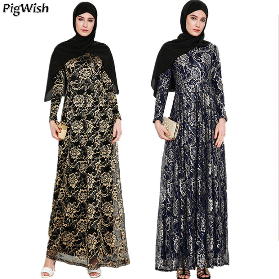 2018 Abaya Muslim Evening Party Dress Islamic Adult Lace Long Sleeve Floral Fashion Moroccan Kaftan Arabic