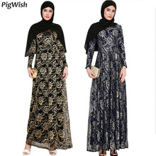 PigWish 2018 Abaya Muslim Evening Party Islamic Adult Lace Long Sleeve  Floral Dresses. US  38.00   piece Free Shipping 0ee8e4a93dfd