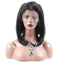 250% плотность Синтетические волосы на кружеве человеческих волос Парики 10 16 дюйм(ов) прямо Реми 13x4 короткий боб парики для женский, черный цв