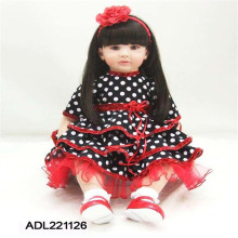 22 inch 55 cm  reborn Silicone dolls, lifelike doll reborn babies toys Dot length hair girl