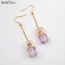 BOROSA Custom Design 3Pairs Perfume Bottle Shape Natural Amethysts Drop Earrings Gems Dangle Earring Jewelry for Women WX1169