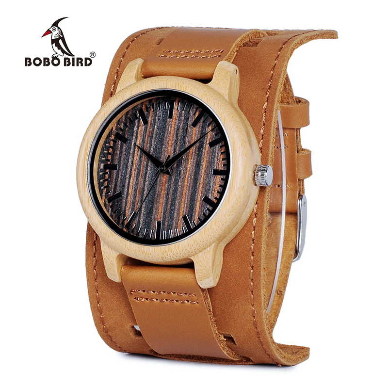 BOBO BIRD V-H08 Bamboo Wooden Watches Mens Quartz Outdoor Sport Watches Clock With Leather Strap Relojes Hombre bobo bird brand new sun glasses men square wood oversized zebra wood sunglasses women with wooden box oculos 2017