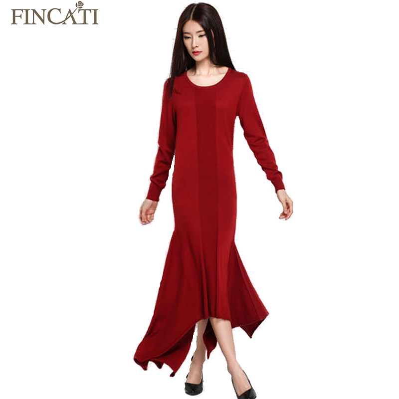 Women's Cashmere Blend Mermaid Long Dress Spring Autumn New Solid Color Mid-Calf Elegant Knitted Wool Fishtail Dresses Sweater вечернее платье mermaid dress vestido noiva 2015 w006 elie saab evening dress
