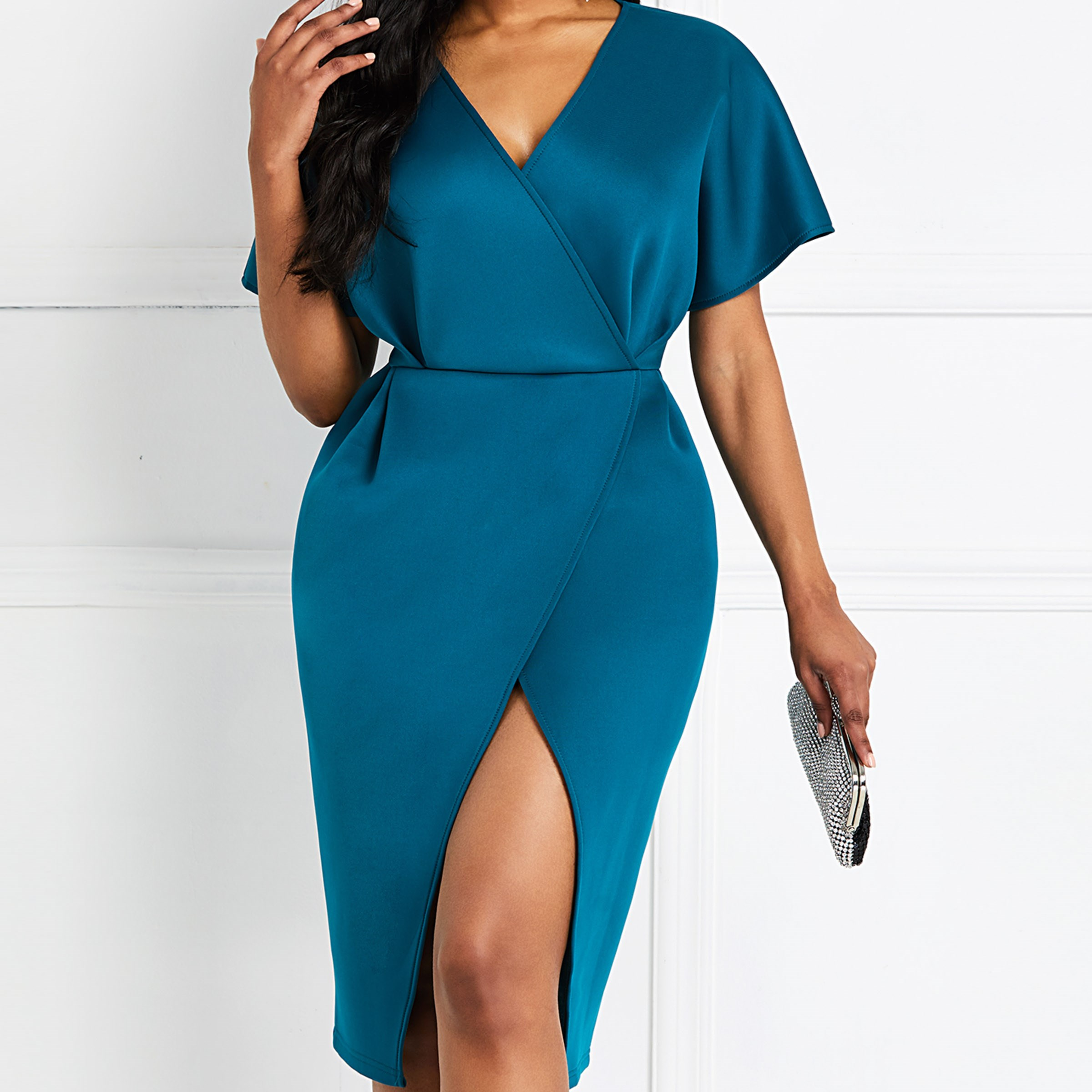 2019 Women V Neck Wrap Casual Dress Party Midi Dress Solid Elegant Dress in Dresses from Women 39 s Clothing