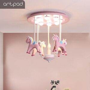 Image 5 - Artpad 素敵な王女樹脂ポニーピンクシーリングライト子供少女の子供ルーム天井ランプ装飾寝室幼稚園ねえや