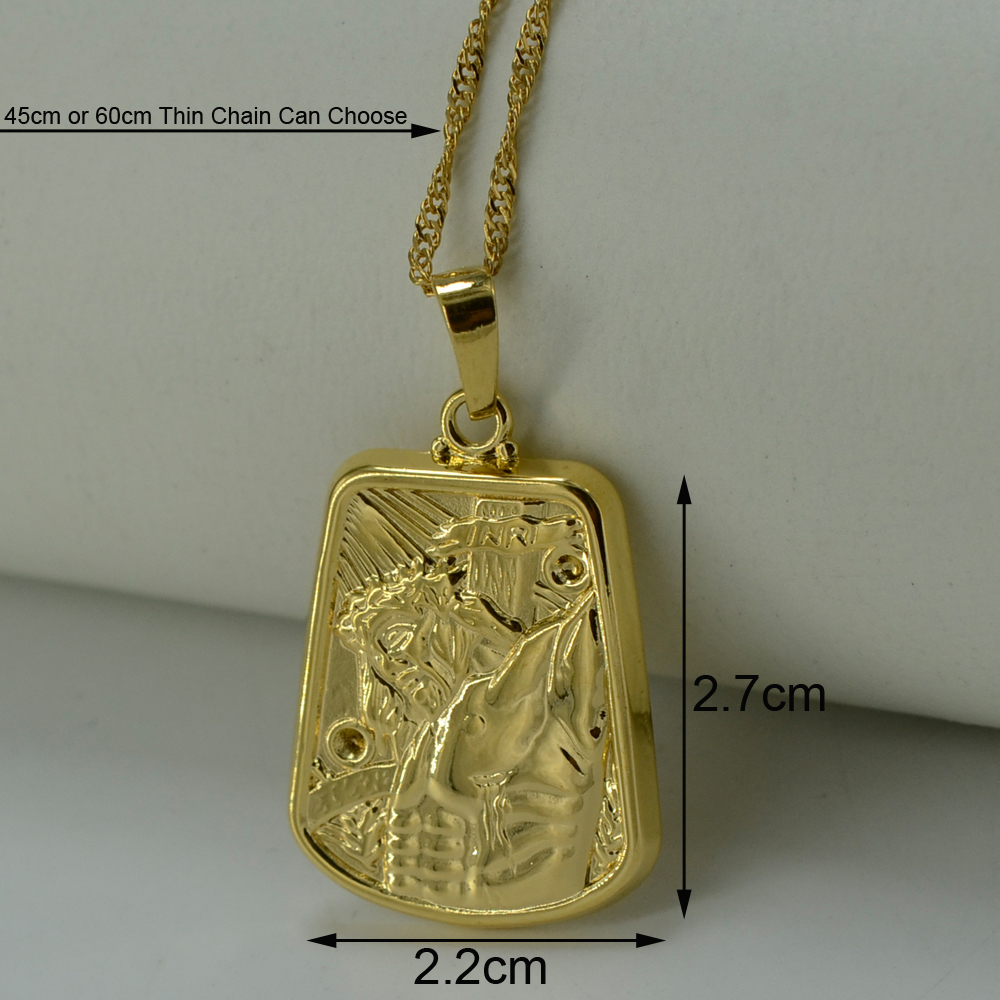Anniyo INRI Crucifixion of Jesus Head Gold Color Necklace Pendant ...