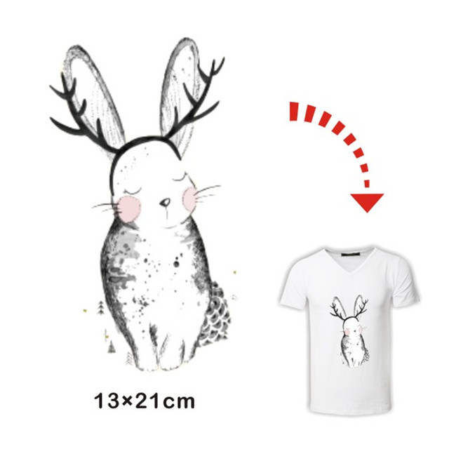 Rabbit with headband stickers for lady girl clothing heat transfer hot press pyrography paper iron on