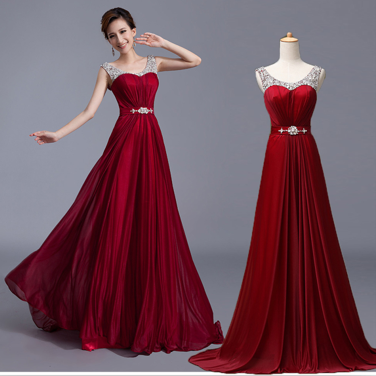2014 new elegant fashion luxury cap sleeve floor length