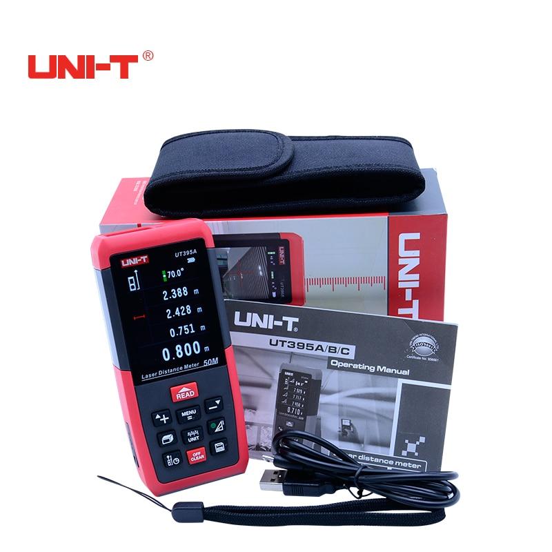 Профессиональный Лазерные дальномеры UNI-T UT395A 50 м лазерный дальномер цифровой дальномер измерения Площадь/Объем Инструмент